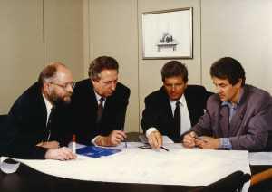 Die SAP-Mitgründer (v.li) Klaus Tschira, Hans-Werner Hector, Dietmar Hopp und Hasso Plattner